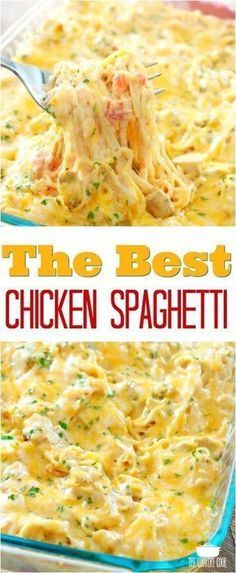 The Best Chicken Spaghetti recipe from The Country Cook chicken dinner easy recipes ideas pasta # Chicken Parmesan Recipes, Healthy Chicken Recipes, Recipes Using Cooked Chicken, Beef Recipes, Meals With Chicken, Sausage Recipes, Family Recipes, Recipes With Leftover Chicken, Mr Food Recipes