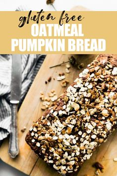 This healthy pumpkin bread with rolled oats is deliciously moist, and full of pumpkin flavor! Make this quick bread recipe in just 45 minutes, for a gluten free breakfast or snack. #dairyfree #glutenfree Bread Recipe Video, Quick Bread Recipes, Dairy Free Recipes, Whole Food Recipes, Sweets Recipes, Fall Recipes, Baking Recipes, Snack Recipes, Desserts