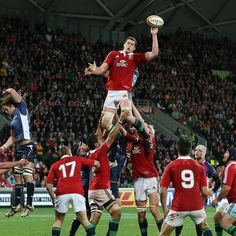 Conor Murray waits to pick up possession from a lineout as Welsh lock Ian Evans acrobatically taps the ball down for the Lions against Rebels