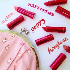 Rawdorable: Pure Pomegranate Oil Lipsticks in Narcissus and Poppy look promising. Poppy is a blue red 100 Percent Pure, 100 Pure, Lipstick Swatches, Red Lipsticks, Pomegranate Oil, Poppy, The 100, Hair Makeup, Cosmetics