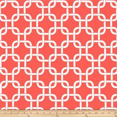 Premier Prints Gotcha Coral/White from @fabricdotcom  Screen printed on cotton duck; this versatile medium weight fabric is perfect for window accents (draperies, valances, curtains and swags), accent pillows, duvet covers and upholstery. Create handbags, tote bags, aprons and more. *Use cold water and mild detergent (Woolite). Drying is NOT recommended - Air Dry Only - Do not Dry Clean. Colors include white and coral.