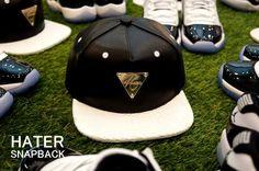 Black Leather White Brim Grain Snapback!