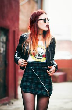 #lehappy plaid skirt and GnR tee. bitchin'