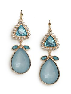 Talk about fabulous statement earrings. These gemstone beauties feature luxe faceted crystals, both ice white and mint green, set into a femme floral silhouette.