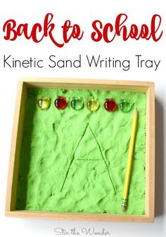 This Back to School Kinetic Sand Writing Tray is a fun way for preschoolers and older kids to practice handwriting with great proprioceptive sensory input! Kids Learning Activities, Alphabet Activities, Kindergarten Activities, Writing Activities, Alphabet Crafts, Learning Letters, Kindergarten Teachers, Motor Activities, Learning Resources