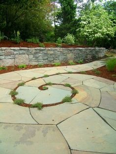 spiral flagstone patio and path