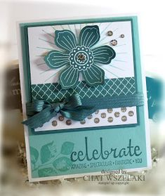 handmade celebration card from Me, My Stamps and I .. monochromatic aqua/teals ... lots of embellishments ... Stampin' Up!