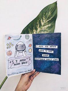 Art Journal Flip Through // new vlog: see more on my blog – galaxy space theme art journal // #journaling #tumblr #art