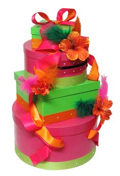 It's cold outside but warm and tropical with this fun wedding card box by The Card Box Diva.