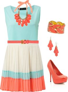 """Coral and Light Blue"" by smudgie on Polyvore"