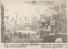 Jan van de Velde (II)   December, Jan van de Velde (II), Anonymous, Johann Tscherning, 1684 - 1729   Gezicht op Delfshaven, voorstellende de maand december. In het midden op de achtergrond een houten brug met overkapping over een gracht. Op de voorgrond rechts loopt een schoolmeester met zijn klas. Links twee vrouwen bij een groentenkraampje. Op de stenen brug linksvoor lopen twee heren. Bovenaan het bij deze maand behorende sterrenbeeld: steenbok. Laatste prent uit een serie van twaalf.