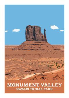 Vintage Style A3 Travel Poster Print - Monument Valley, Arizona, USA