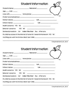 Back to School Student Information Cards (already have them for this year- will use them next!)