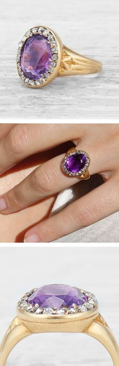 Antique Victorian Ring centers on an oval-cut Amethyst surrounded by 22 rose-cut Diamonds. Set in 18k yellow Gold. Circa 1880. $3,000
