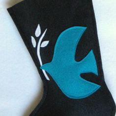 Christmas Stocking  Dove of Peace in Navy by stitcholicious, $17.00