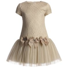 Loredana Le Bellissime girls golden ceremony dress with the top in trellis pattern jacquard fabric and a pleated and layered tulle full skirt.It is decorated with three bows and pretty diamante bow charms. It is fully lined in soft cotton and has a concealed zip at the back. <ul> <li>62% polyester, 31% acrylic, 7% polyamide<br /></li> <li>Tulle: 90% polyamide, 10% polyester</li> <li>Lining: 100% soft cotton</li> <li>Dry clean</li> <li>Made in Italy</li> </ul>