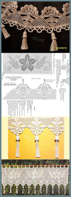 Crochet Collar Pattern, Afghan Crochet Patterns, Crochet Chart, Thread Crochet, Crochet Trim, Filet Crochet, Crochet Motif, Irish Crochet, Crochet Flowers
