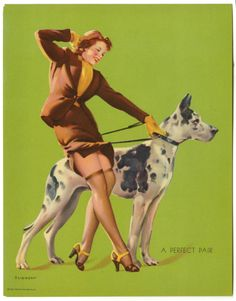 GIL ELVGREN 1930S PIN UP PRINT REDHEAD & GREAT DANE A PERFECT PAIR NR