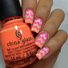 Neon orange and pink gradient with white chevrons