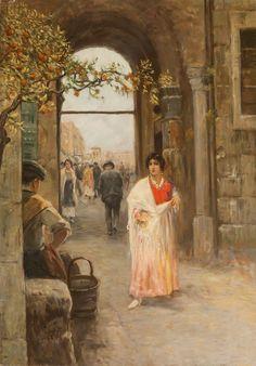Napoli, Nannina a Porta Capuana by VINCENZO MIGLIARO (NAPLES 1858 - 1938)