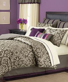 Martha Stewart Collection Bedding, Brownstone Damask 24 Piece Room in a Bag - Bed in a Bag - Bed & Bath - Macy's