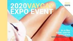 A creative expo event template. A background of a woman lying by a pool with white text displaying 2020 vaycay expo event.