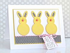 Card by DT Member Michelle Leone using our Frantic Stamper Large Marshmallow Bunny die. Filled Easter Baskets, Marshmallow Bunny, Easter Bunny, Easter Card, Frantic Stamper, About Easter, 8th Of March, Punch Art, Sketch Design