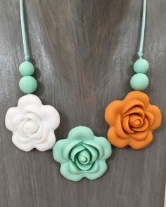 Flower Silicone Teething Necklace in Lola, Breastfeeding Necklace, Teething Jewellery by SebandRoo on Etsy https://www.etsy.com/uk/listing/454891468/flower-silicone-teething-necklace-in