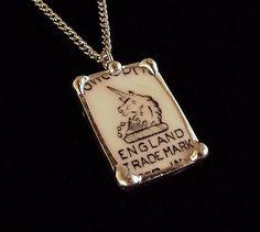Broken china jewelry pendant necklace vintage Wedgwood china Unicorn backstamp