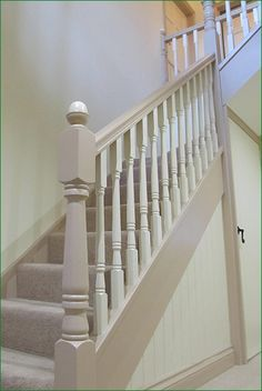Saffron Staircase - softwood staircase with a winder to the floor & Georgian spindles and newel posts. in 2020 Painted Staircases, House, Staircase Decor, Staircase Design, Stair Paneling, Hallway Designs, Staircase Makeover, Handrail Design, Cottage Staircase