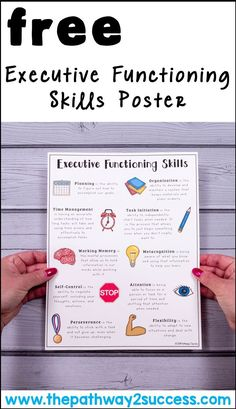 Use this free printable executive functioning poster to highlight the critical executive functioning skills including planning, organization, time management, task initiation, working memory, metacognition, self-control, attention, flexibility, and perseverance. #executivefunctioning #specialeducation