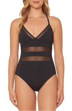 f41343cd9e BLEU by Rod Beattie Mesh Inset One-Piece Swimsuit Women's One Piece  Swimsuits, Women