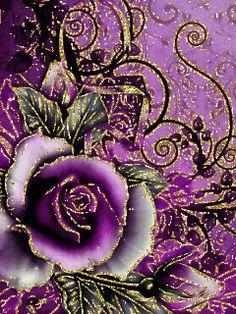 Роза в золотой окантовке