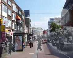 De Neude, Utrecht: twee dagen na de bevrijding van 5 mei 1945 wordt er nog heen en weer geschoten tussen Duitse soldaten enerzijds en Nederlandse burgers en Britse soldaten anderzijds. Gecombineerd met een foto uit april 2012.