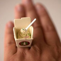 Kawaii Miniature Food Floating Ring Take Out by fingerfooddelight, $12.00