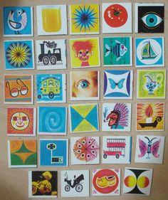 Vintage memory kaarten, 29 stuks, 5 x 5 cm, jaren '70, karton, spelonderdelen, hobbymateriaal   [C] by LabelsAndMore on Etsy