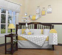 Boutique Baby Yellow & Gray Chevron 13 Piece Nursery CRIB BEDDING SET