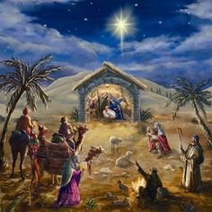 O Holy Night ~ Jesus Christ is born in Bethlehem in a manger.