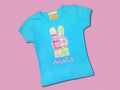 Easter Bunny Madras Plaid Girls Shirt with by SunbeamRoad on Etsy, $24.00