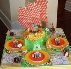 I like the crayons in the pine cones with a color page...Thanksgiving table set up for the kids