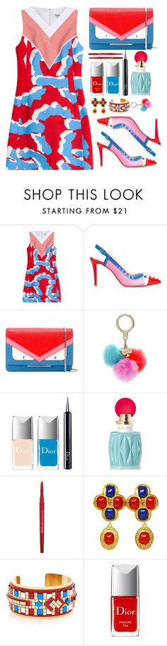 """Spring in the air...."" by simona-altobelli ❤ liked on Polyvore featuring Kenzo, Fendi, Kate Spade, Christian Dior, Miu Miu, Smashbox, Chanel, HIRSCHELL, MyStyle and redandblue"