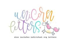 Unicorn Letters Font & SVG Letters by OnTheSpotStudio on @creativemarket