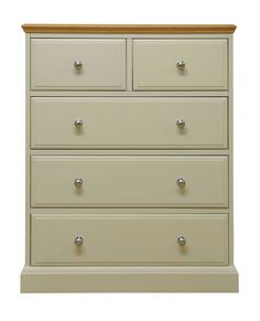 This Two over Three Chest of Drawers brings the appeal of painted furniture with contrasting oak top for a true twist on country style. Choose from metal or oak knobs supplied with every piece. Bedroom Chest Of Drawers, 3 Drawer Dresser, 3 Drawer Chest, White Furniture, Painted Furniture, Painted Dressers, Furniture Storage, Bedroom Furniture, Yurts