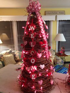 Grapevine tree decorated for holidays. Holiday Tree, Holiday Crafts, Fun Crafts, Christmas Tree, Holiday Decor, Valentine Decorations, Tree Decorations, Grapevine Tree, Diy Wreath