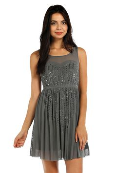 EMBELLISHED ACCENT SHEER YOKE AND BACK DRESS