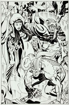 Recreation after Jack Kirby, art by Angel Gabriele, Loki and the Norn Queen (undated