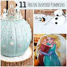 11 Frozen Inspired Pumpkins plus free carving templates - Pretty My Party #frozen #halloween #pumpkins