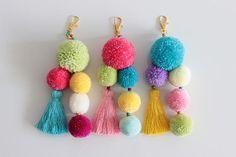 Your place to buy and sell all things handmade Tassel Keychain, Diy Keychain, Keychains, Diy Tassel, Tassels, Pom Pom Clutch, Do It Yourself Baby, Macrame Wall Hanging Diy, Pom Pom Crafts
