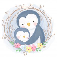 Cute Mommy And Baby Penguin Illustration Cartoon Drawings, Cute Drawings, Animal Drawings, Cute Animal Illustration, Chicken Illustration, Illustration Art, Illustration Mignonne, Art Mignon, Kids Graphics