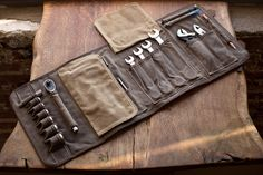 IN STOCK: THE ORIGINAL TOOL BOOK ™ (Sage Waxed Cotton & Leather Motorcycle Tool Roll)